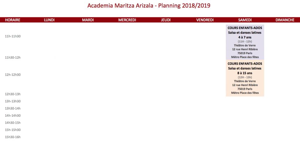 planning enfants 2019